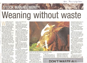 Article about EasyWean in Qld Country Life April 2011