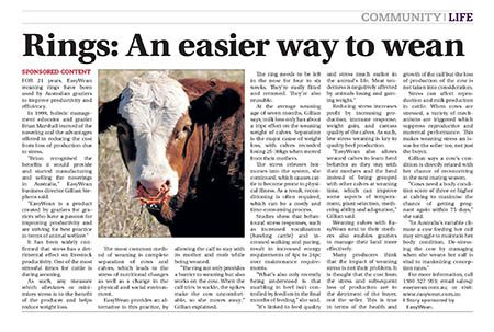 Rings An easier way to wean the land
